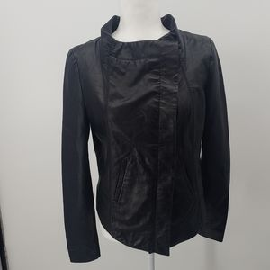 Bcbgmaxazria black leather cropped moto jacket